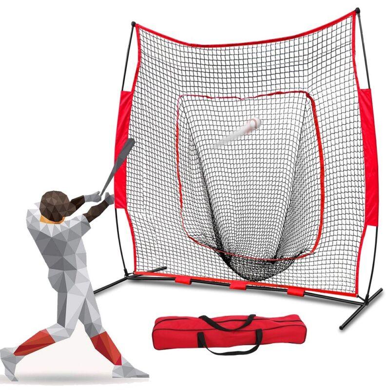 7x7Ft Bow Frame Baseball Softball Teeball Practice Batting Training Net W/Bag