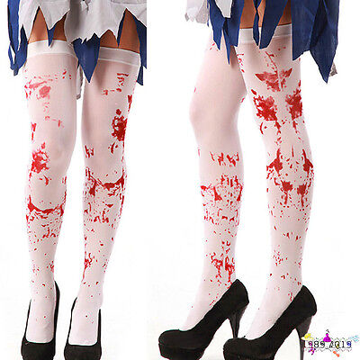 1Pair Women Lady Sexy Horror White Halloween Party Bloody Nurse Fancy Long - White Lady Horror Kostüm