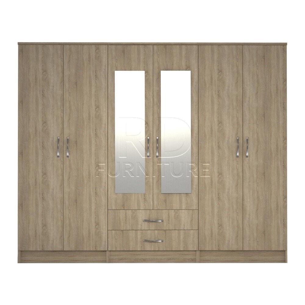Beatrice wardrobe 4 you, 2,28m wide 6 door oak wardrobe