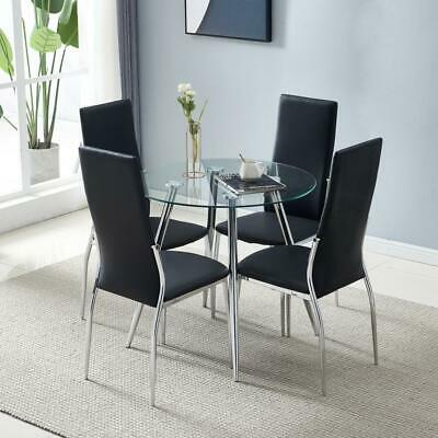 5 Piece Dining Table Set With 4 PU Leather Kitchen Dining Room Furniture