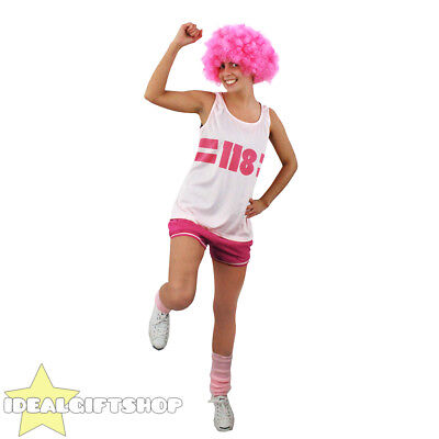 118 COSTUME LADIES PINK FANCY DRESS WEAR IT PINK CHARITY RACE OUT FIT + AFRO WIG