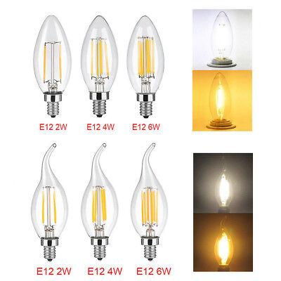5X 2/4/6W E12 LED Chandelier Light Bulb Filament Candelabra Bulb COB Candle Lamp