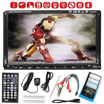 "Free Camera+GPS 7"" Double 2 Din Car Stereo Radio DVD CD Player Bluetooth iPod on Rummage"