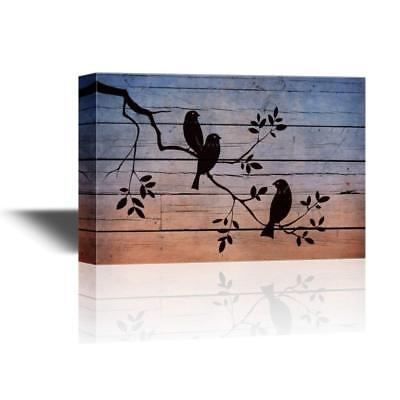 Branches Stretched Wall Art (Wall26 - Canvas Wall Art - Birds on Tree Branches on Wood Style Background-24x36 )