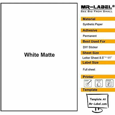Mr-label White Matte Waterproof Vinyl Sticker Paper Full Letter Sheet Compatible