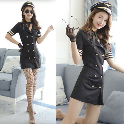 Woman Sexy Stewardess Suit Slim Uniform Outfits Sets Lingerie Dress Costumes Stewardess Outfit