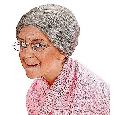 Child Grandma Grey Bun Wig For Fancy Dress Costumes & Outfits Accessory - - Grandma Costumes For Kids
