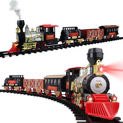 Classic Large Christmas Holiday Train Set With Real Smoke Light Sound Kids Gift