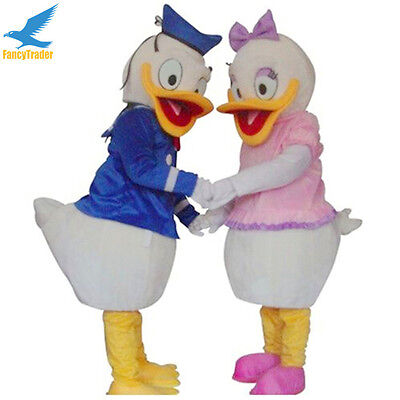 Halloween Prop Mr.Donald Duck and Mrs Daisy Duck Mascot Costume Fancy Dres Adult (Mr And Mrs Halloween Costumes)