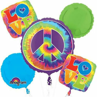 FEELING GROOVY BALLOON BOUQUET PARTY DECORATION LOVE TIE DYE HIPPIE 60'S 70'S  (Tie Dye Balloons)