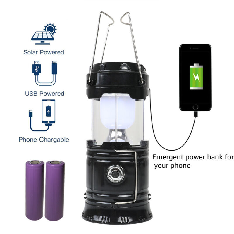 Rechargeable LED Camping Lantern Collapsible Flashlight Portable Lamp w/ Battery