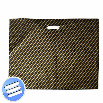 100 BLACK & GOLD STRIPE PLASTIC CARRIER GIFT/ BOUTIQUE BAG/ BAGS: LARGE 22 x 18