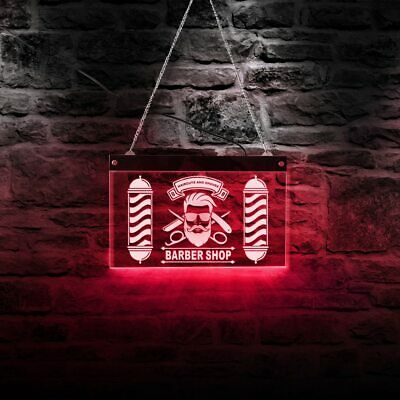 Custom Barber Shop Led Neon Light Sign Barber Pole Styling Haircuts And Shaves