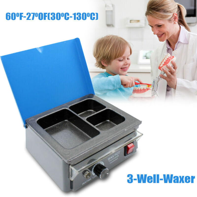 Dental Lab Equipment Analog Wax Heater Pot 3 pots Waxing Dentist Instrument NEW