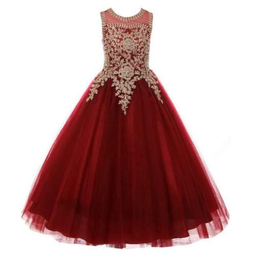 ABAO Childrens Girls Elegant Embroidered Floral  Ball Gown Tulle Dress ZG8