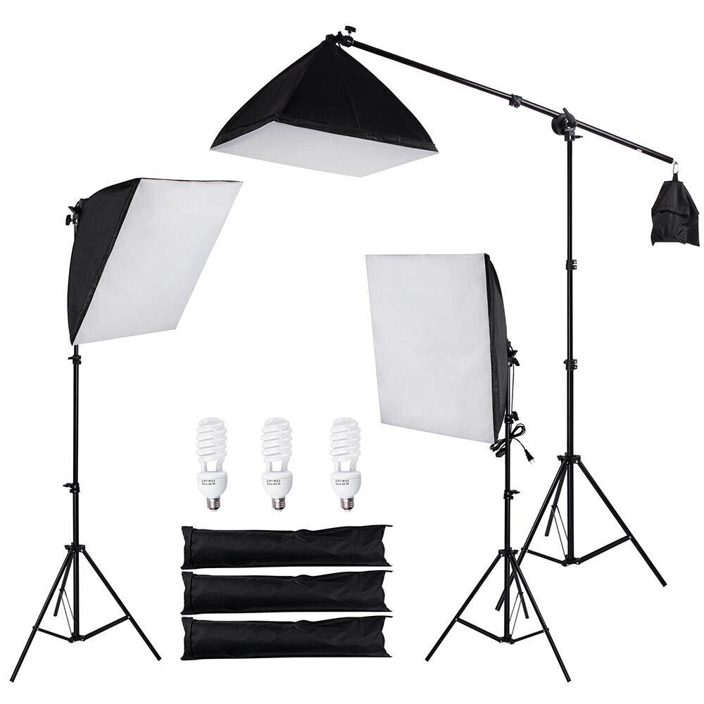 Photography Photo Studio 3 Softbox Boom Light Stand Lighting Kit Diffuser w Bag