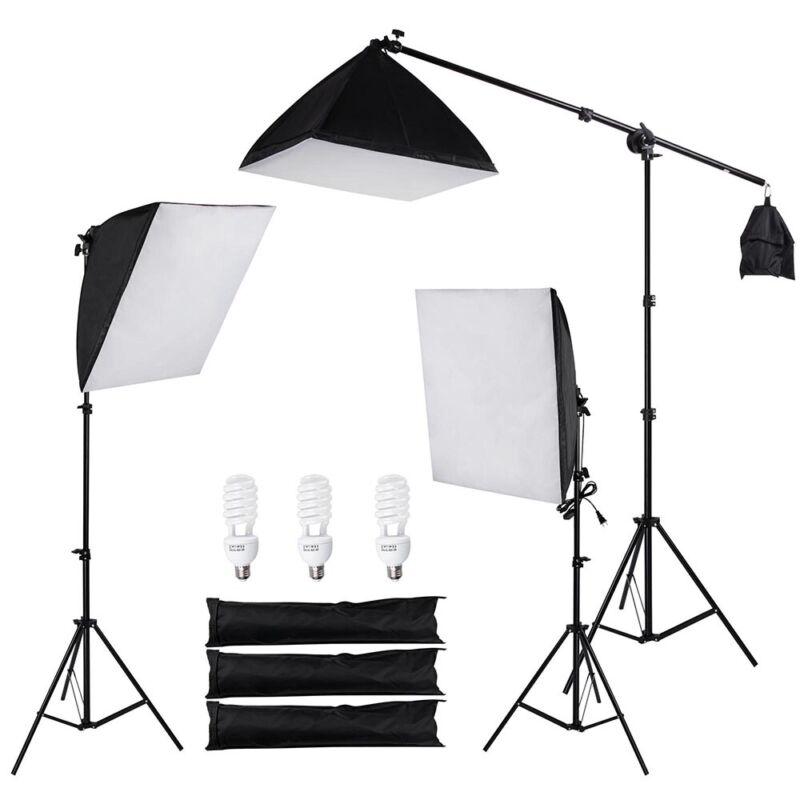 Photography Photo Studio 3 Softbox Boom Light Stand Lighting Kit Diffuser w/ Bag