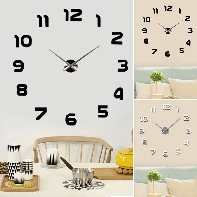Home Decoration - Large Number Wall Clock 3D Mirror Sticker Modern Home Office Decor Art Decal Hot