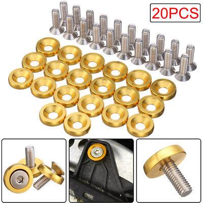 20pc Best Quality Gold CNC Billet Aluminum Fender Washer Engine Bay Dress Up