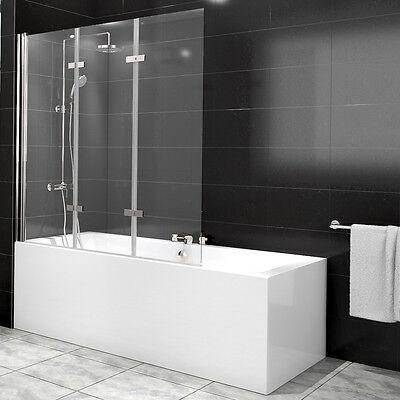 Duschabtrennung Badewanne Duschwand Badewannenfaltwand Glas Dusche 3 Flügel Nano