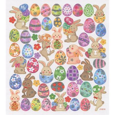 Scrapbooking Crafts Stickers Happy Bunnies Rabbits Easter Eggs Decorated Bunny