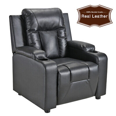 Faux Leather Sofa Armchair Recliner Lounge Reclining Chair with 2 Drink Holders