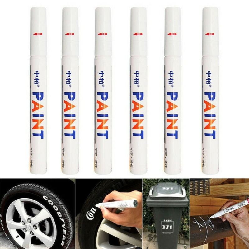 6PC White Paint Pen Marker Waterproof Permanent Car Tire Lettering Rubber Letter