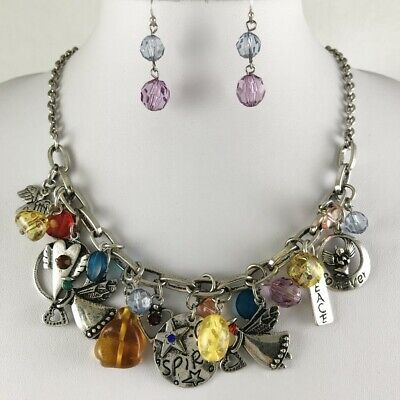 Flirty and Fun Boho Charm and Bead Cluster Necklace Earrings Set