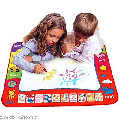 Children Doodle Drawing Toys 1 Painting Mat + 2 Water Drawing Pen Blue