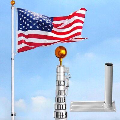 Pole Mount Bracket Kit (30' Telescopic Flag Pole Aluminum w/ Flag Kit +Tire Mount Stand Bracket)