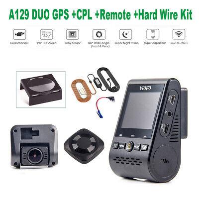 HD Viofo A129 Duo 2CH GPS Car Dash Cam DVR + CPL + HK3 ACC Hardwire Kit +Remote