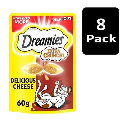 Dreamies Extra Crunch Adult Cat Treats with Cheese 480g (8x60g packs)