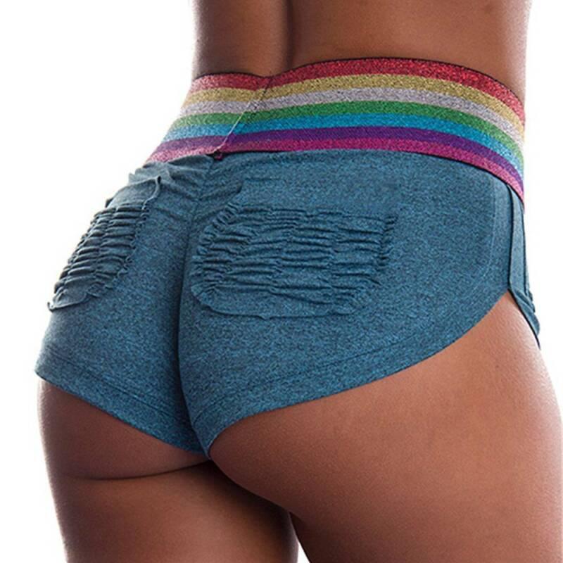 Damen Yogahose Kurze Hose Push Up Leggings Butt Lift Shorts Kurz Freizeithose