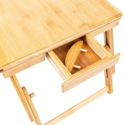 Bamboo Laptop Desk Adjustable Breakfast Serving Bed Tray with Tilting Top Drawer 5
