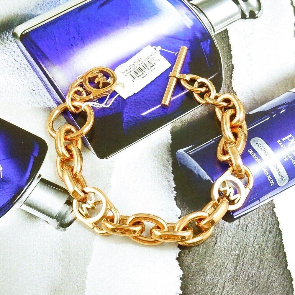 Michael Kors Womens Logo Lock Chain $115.00 Rose Gold Tone