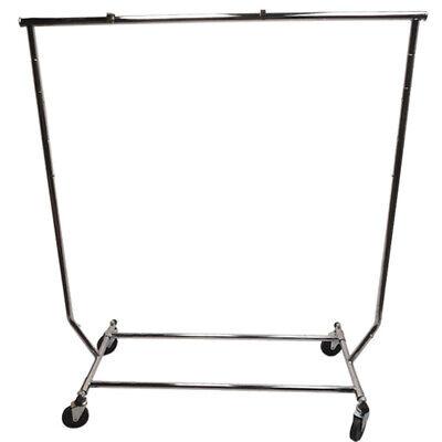 Single Bar Adjustable Clothes Rack Garmen Display Clothes Hanger Retail W Wheels