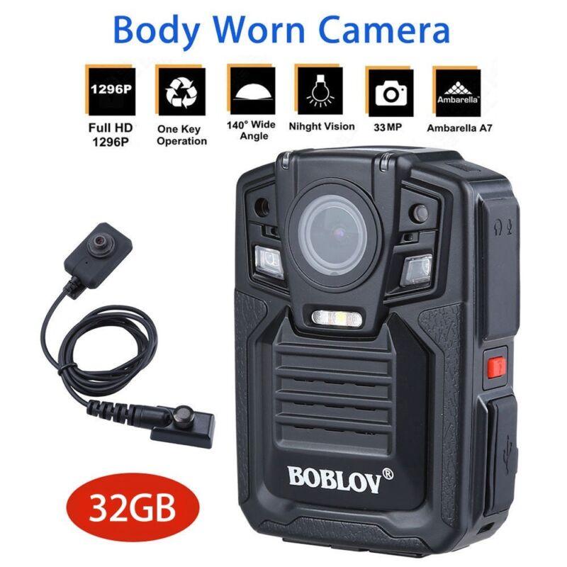 Boblov HD 1296P Body Worn Camera 32GB Security Night Vision