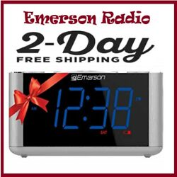 Emerson FM Clock Radio Dual Alarm Smart Set Auto DST Aux In USB Charging