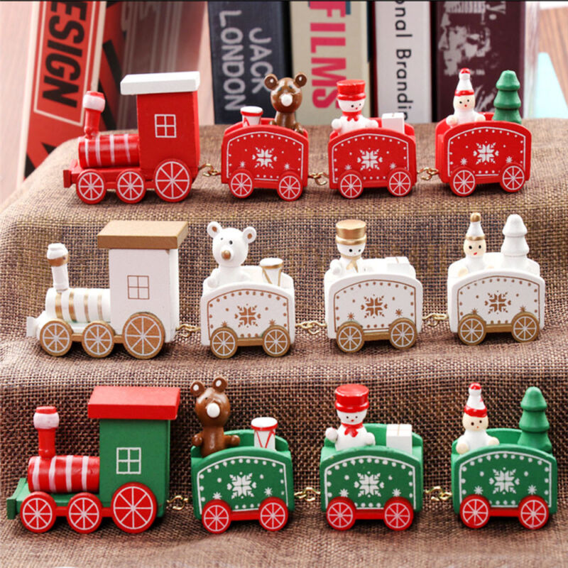 New Christmas Wooden Train Santa Claus Xmas Festival Ornamen