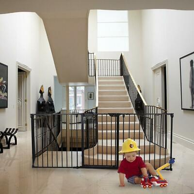 Fireplace Fence Baby Safety Fence Hearth Gate Pet Cat Steel Fire Gate BBQ Black Baby