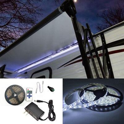 RV 16' WHITE LED Awning Party Light 12V 11 key remote controller for camper