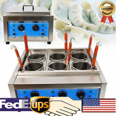 Electric Pasta Machine Noodles Cooker Commercial 6 Holes Basket 6kw 110v