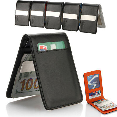 Genuine Leather Silver Mens Money Clip Slim Wallets Black ID Credit Card Holder