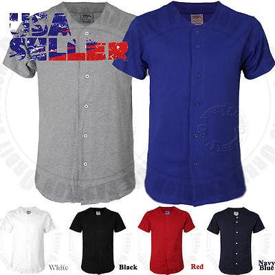 (Baseball Plain Jersey T Shirt Button Solid Short Sleeve Sports Uniform Team Tee)