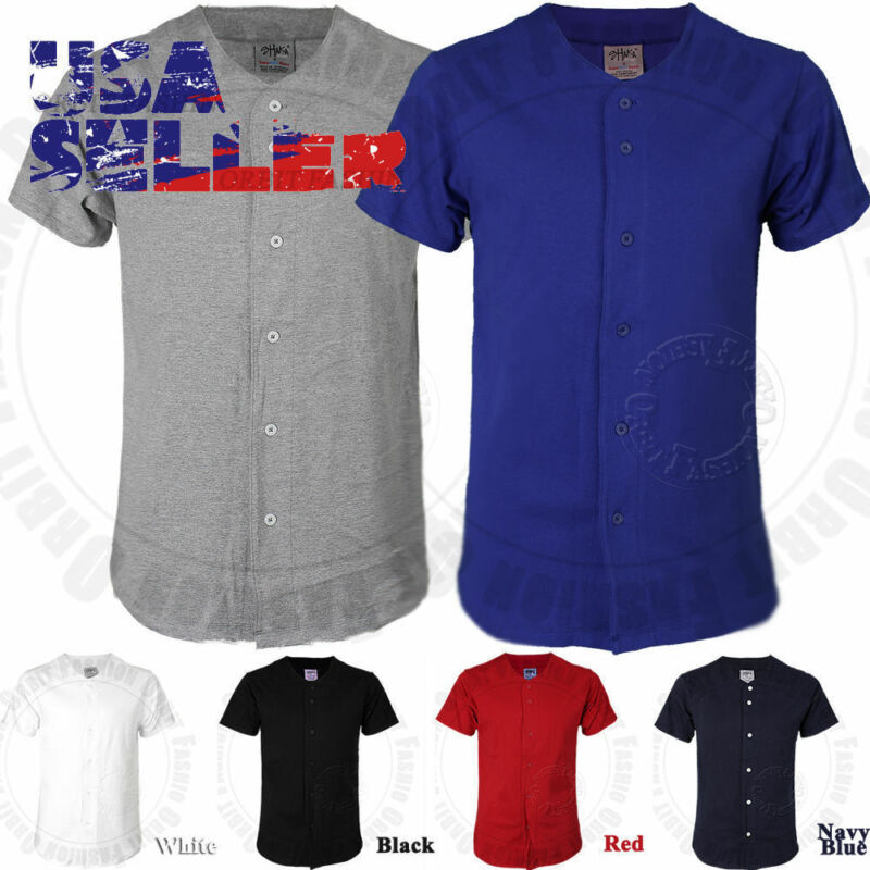 Baseball Plain Jersey T Shirt Button Solid Short Sleeve Sports Uniform Team Tee