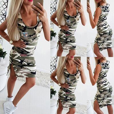 Ärmellos Camouflage (Damen Sexy Ärmellos Sommerkleid Freizeit Minikleid Camouflage Wickelkleid Spliss)