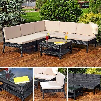 Sitzgarnitur Ecksofa Gartengarnitur Tisch Lounge Gartenmöbel Poly Rattan schwarz
