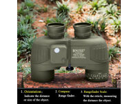 New BNISE Military HD Binoculars, Navigation Compass and Rangefinder, 10x50