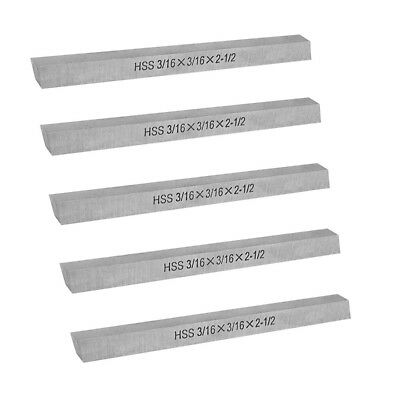 "5 Pc HSS Square Tool Bit 3/16"" x 3/16"" x 2-1/2"" Milling Lathe Tool Bit Cutter"