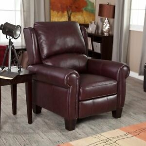 Charmant Leather Chair Recliner Push Back Style Living Room Furniture Burgundy